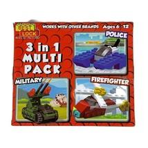 Best Lock Building Blocks 3 In 1 Multi Pack Police Military Firefighter ... - $7.83