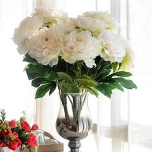 JAROWN 5 Heads Silk Artificial flower Peony Bunch flower bouquet for wed... - $20.85