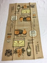 VTG LUTHER TRAVIS Liquors Brandy Cognac Linen AMERICANA Kitchen Tea Towe... - $9.95