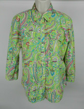 Chaps Classics L Womens Blouse 3/4 Green Pink Paisley Button Down Front  - $29.69