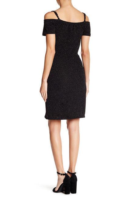 Angie NWT cold shoulder faux wrap dress twist black mini dress size S M