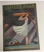vanity Fair matted print From April 1926 Woman White Dress Long Hair Wind - $37.75