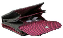 """4"""" Sanrio Hello Kitty Grey Micro Suede Flap Wallet Magenta Houndstooth Bow NWT image 3"""