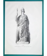 MINERVA Goddess Statue at Capitoline Museum in Rome - 1876 Antique Print - $13.49