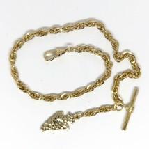 "Vintage Pocket Watch Chain Goldtone Arrowhead 12"" - $24.74"