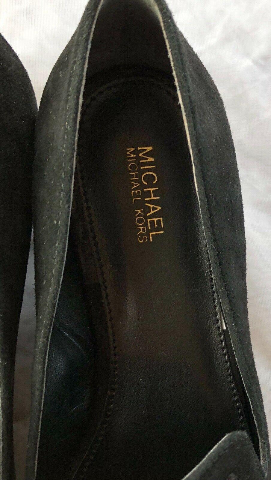 Michael Kors Femmes Chaussures Noir en Cuir Caoutchouc Semelle Broderie Size 6.5 image 8
