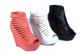 Strappy Caged PeepToe Back Zip Wedge Platform Sandal Bootie Comfort Open Toe - $28.99