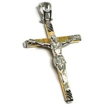 Pendentif Croix or Jaune Blanc 18k, Christ, Carrée, Pendentif, Righettata image 1
