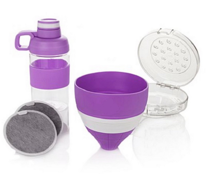 JOY Mangano Miracle Clean Water Filter Set with Case and Bottle , Purple - $17.72