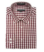 Marquis Men's Burgundy Gingham Checkered Long Sleeve Modern Fit Dress Shirt - $28.99