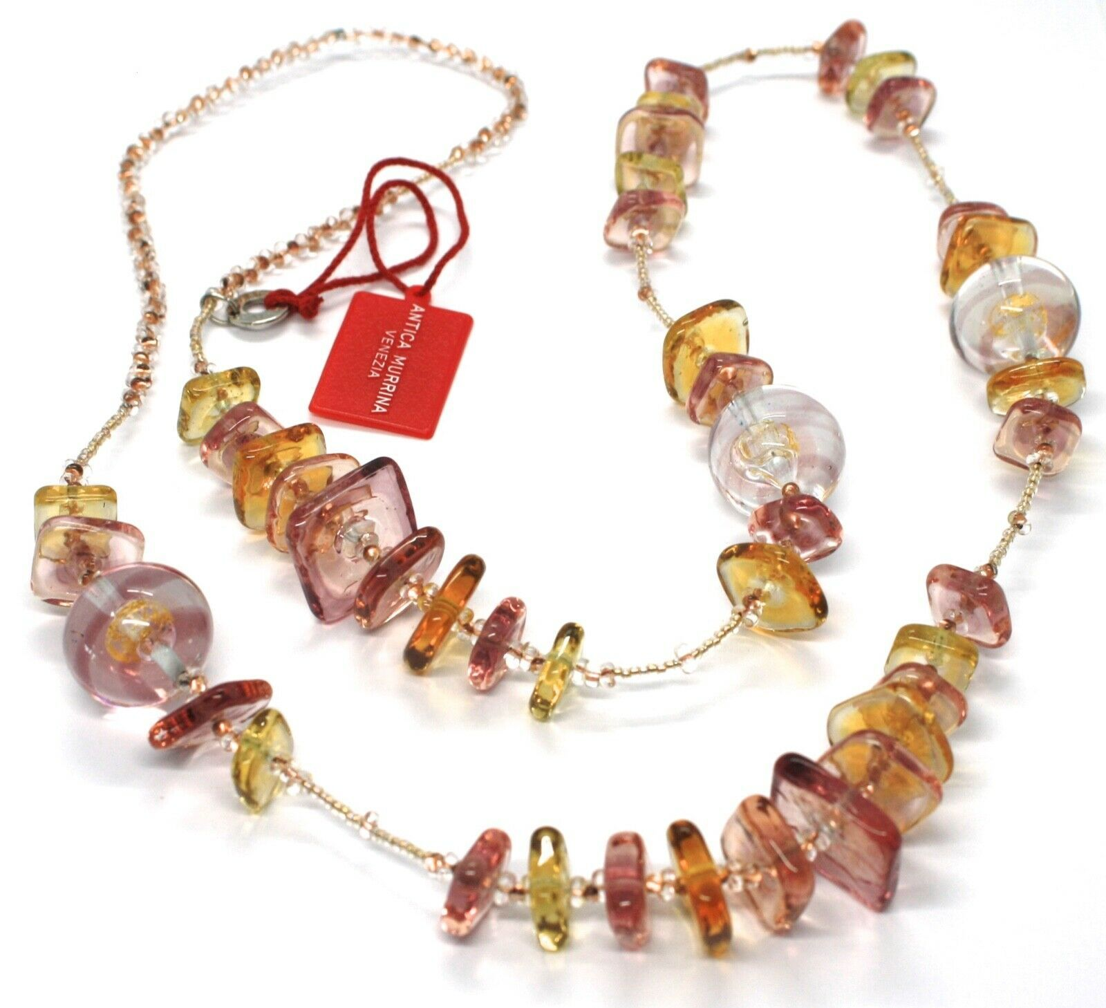 Necklace Antique Murrina, CO714A99, Pink, 90 cm, Squares Spheres, Glass Murano