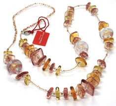 Necklace Antique Murrina, CO714A99, Pink, 90 cm, Squares Spheres, Glass Murano image 1