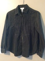Jones New York Sport Olivgrün Baumwolle Kord Knöpfe Vorne Shirt Größe M - $14.49
