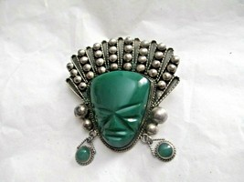 "Vintage Sterling 925 Green Onyx Carved Mayan Mask 2"" Pin Brooch Dangles - $49.49"