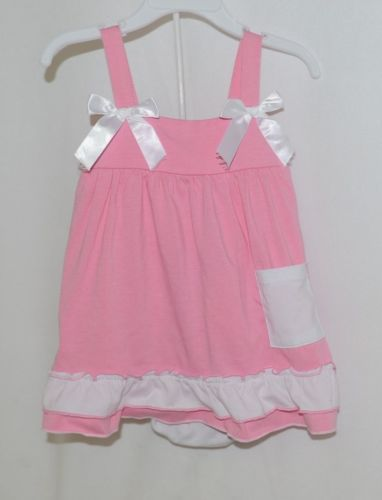 I Love Baby Pink White Sun Dress Ruffle Bloomers Size 100cm 3 to 4 Year Old