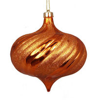 4ct Shiny Burnt Orange Swirl Shatterproof Onion Christmas Ornaments 5.75... - $71.95