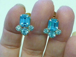 CORO Estate BLUE TOPAZ Rhinestone Earrings aRT dECO mODERNIST - $12.99