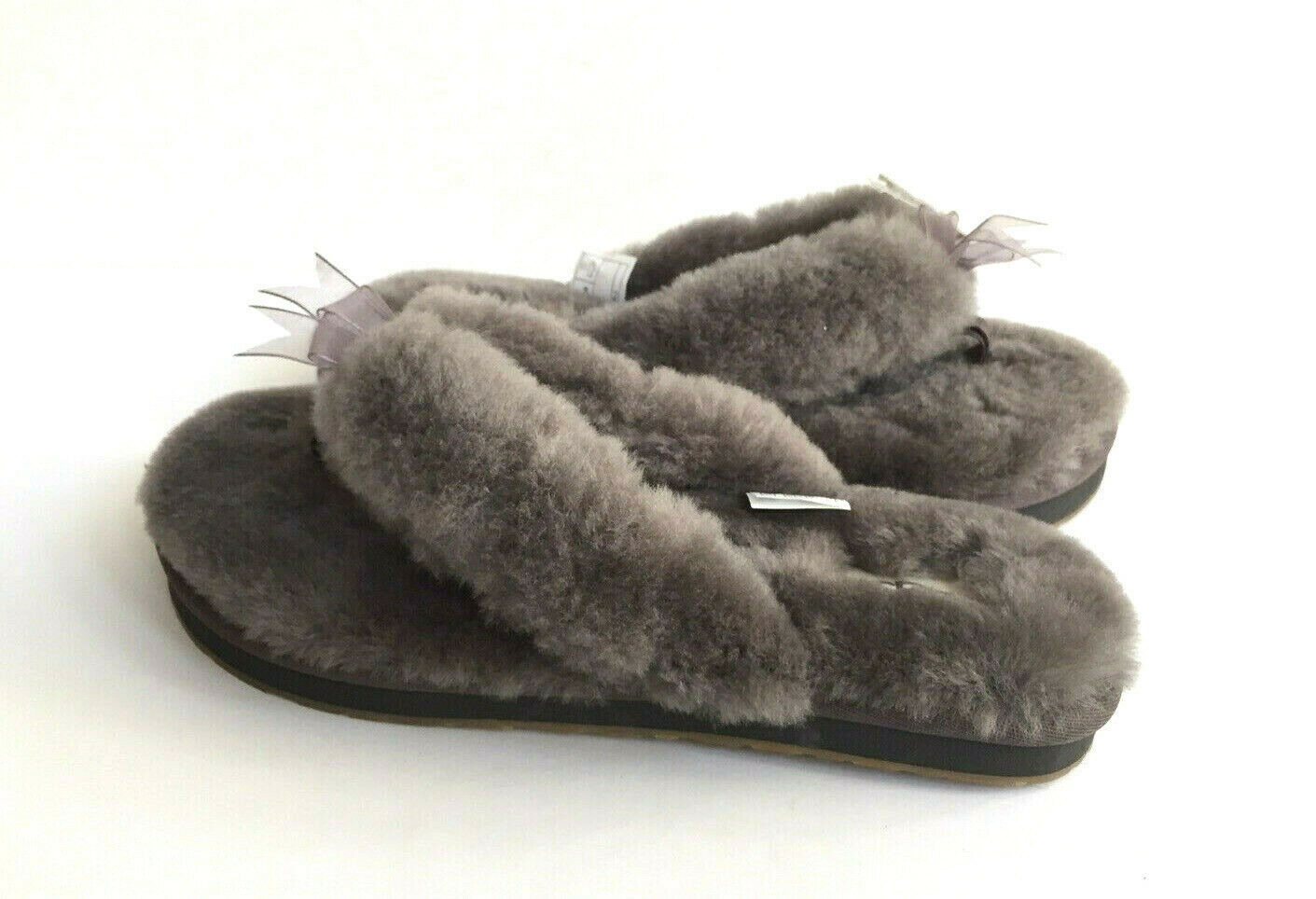 Primary image for UGG FLUFF FLIP FLOP III GREY GRAY MOCASSIN THONG SANDAL US 7 / EU 38 / UK 5