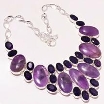 """African Amethyst Cut & Cab's Gemstone Handmade Jewelry Necklace 17-18"""" U... - $16.41"""