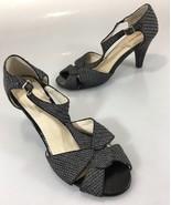 "Perlina Womens 9.5B Palace Gray Woven T-Strap Peep Toe 3.5"" Heels Shoes - $47.53"