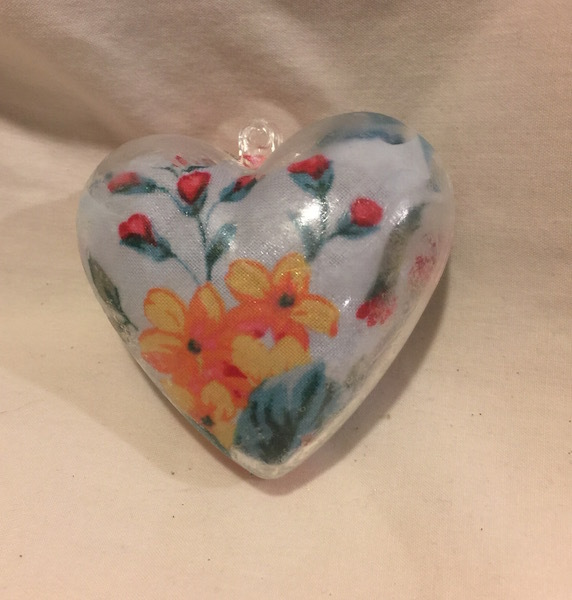 Heart Ornament Chintz Blue, Red, Orange Inside Decoupage Plastic Heart Ornament