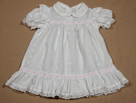 VINTAGE SEARS GIRLS 2T WHITE EYELET DRESS PINK RIBBON TRIM COTTON - $9.89