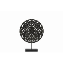 Floral Patterned Round Wooden Wheel Ornament On Rectangular - $66.97