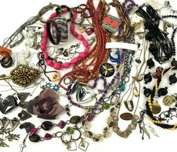 Costume Jewelry Lot Boho Mod Metal keychain locket Vtg To Modern 2+ lbs  - $34.60