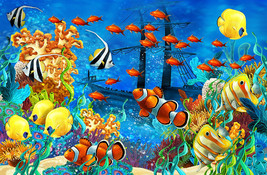 Under Water Sea Scape Aqua Wall Art Wall Mural Self Adhesive Vinyl Wallpaper - $43.11+