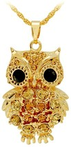 Women's Gold Plated Austrian Crystal Owl Necklace Pendant include Long  - $69.82