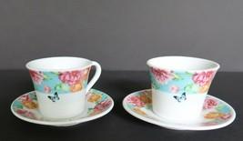 Pretty floral & butterfly patterned Köök demi tasse tea cups & saucer set - $14.99