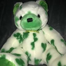 Ty Beanie Baby 2001 Clover White Bear Green Shamrock St Patricks Day Plush Toy - $28.64