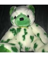 Ty Beanie Baby 2001 Clover White Bear Green Shamrock St Patricks Day Plu... - $28.64