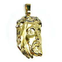 """18K YELLOW GOLD JESUS FACE PENDANT CHARM 4.8cm, 1.9"""" FINELY WORKED ITALY MADE image 2"""