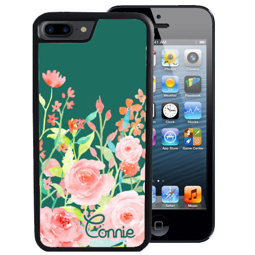 PERSONALIZED RUBBER CASE FOR iPHONE XR XS MAX 8 7 6 PLUS TEAL PINK FLOWERS