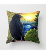Throw Pillow Case Cushion Cover Made USA Bird 63 Crow Raven Sunset art L... - $29.99+