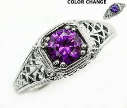 1CT Color Changing Alexandrite 925 Solid Sterling Silver Ring Jewelry Sz... - $26.72