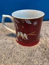 Starbucks 2010 Christmas Mug Red Gold White Snowflake Holly Dove Birds - $49.49