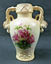 """Antique Floral Design Austrian Vase With Double Handle signed Austria 6"""" - $29.00"""