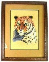 Vtg Tiger Portrait Drawing Framed Matted Color Pencil Signed Wall Art  - $94.04