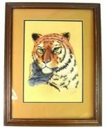 Vtg Tiger Portrait Drawing Framed Matted Color Pencil Signed Wall Art  - $94.04