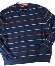 Izod sz XXL crew neck striped long sleeve sweater navy red white - $30.00