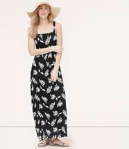 Ann Taylor LOFT Maxi Dress XS S Black Summer Leaves Print Tank Strap Knit New - $34.95