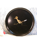 Vintage Couroc of California Roadrunner Round Serving Tray Barware, Mid ... - $24.99