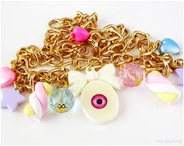 Fairy Kei, Eyeball Necklace, Creepy Cute, Candy Charms, Gold Chain, Jfashion - $18.00