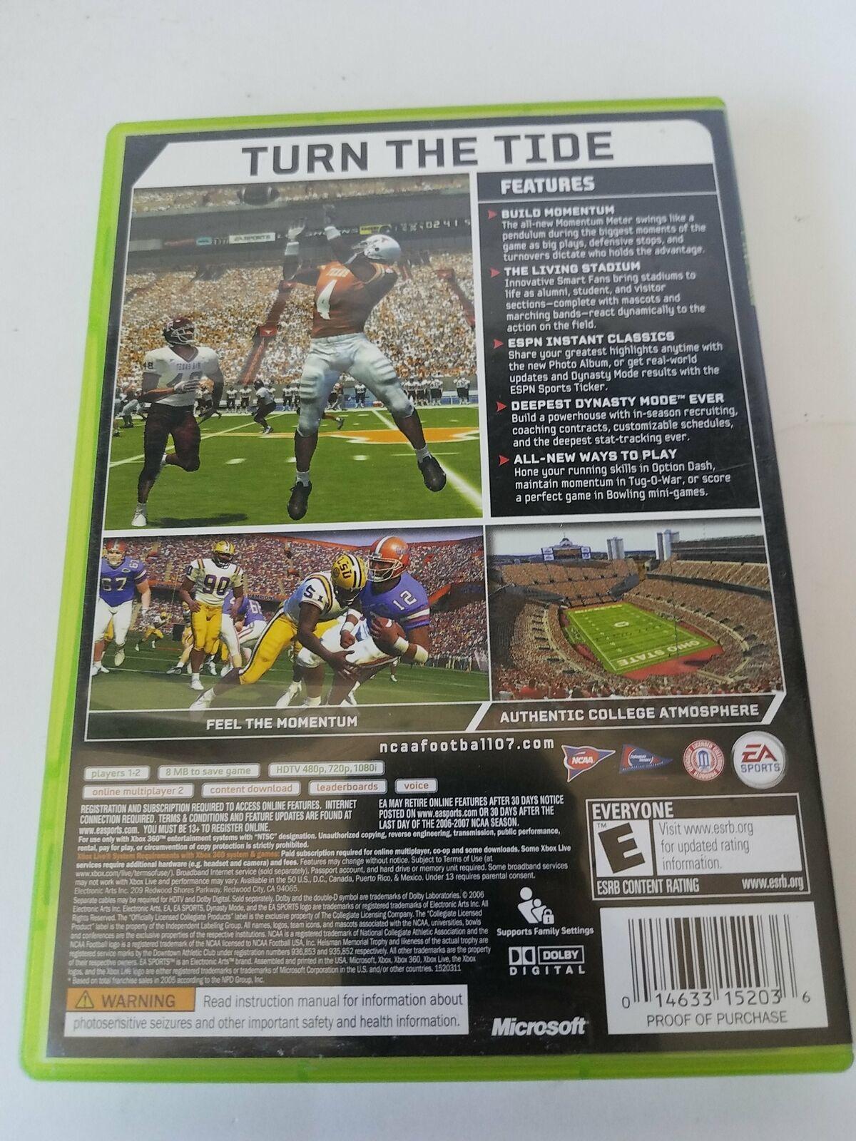 NCAA Football 07 Microsoft Xbox 360 2006