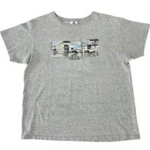 Vintage adidas Gray Shirt Graphic Short Sleeve Tee USA Men Adult Size Large - $14.99