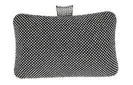 Bling Crown Clutch Purse Women Rhinestone Crystal Evening Clutch Bags--Black