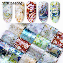 BAHYHAQ - 16PCS Holographic Nail Transfer Stickers Gradient Marble Nail ... - $0.98