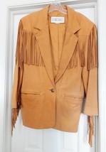 LA NOUVELLE RENAISSANCE Leather Fringed Western Jacket Cowhide Tan Women... - $118.75